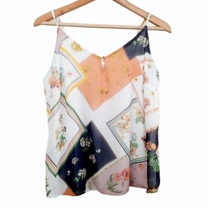 NY & Company Floral Mixed Pattern Blouse Size S